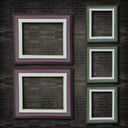 fire bricks: Photo frame on old brick wall. Stock Photo