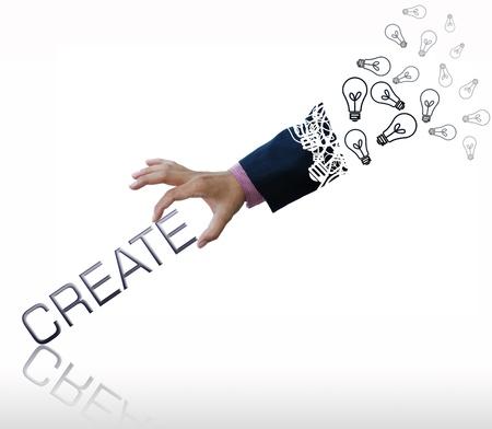 Creative kunstwerk van zaken hand met zakelijke tekst. Stockfoto