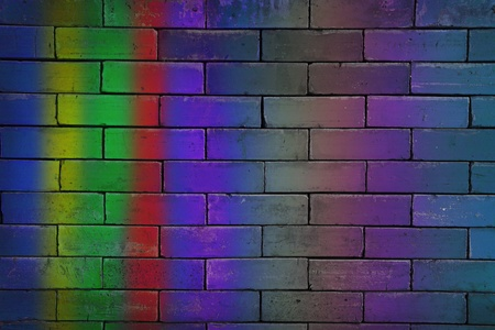 close up of colorful brick wall. photo