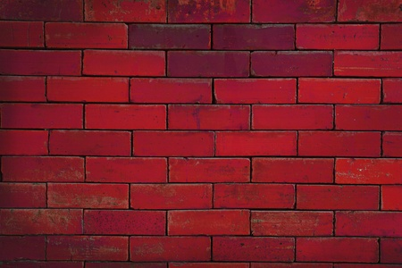 close up of old red color brick wall. photo