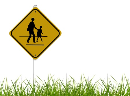 buttom: school sign over white background with grass pattern at the buttom.