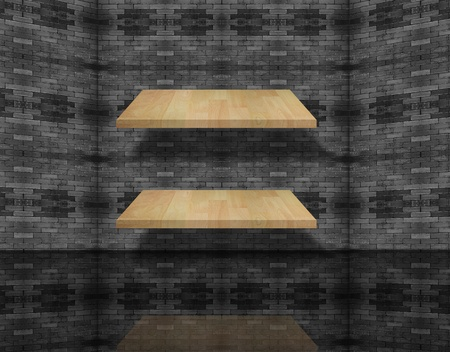 Blank wood shelf  on brick wall. photo