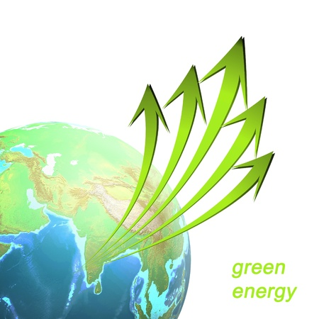 Artwork of green energy idea on white background. photo