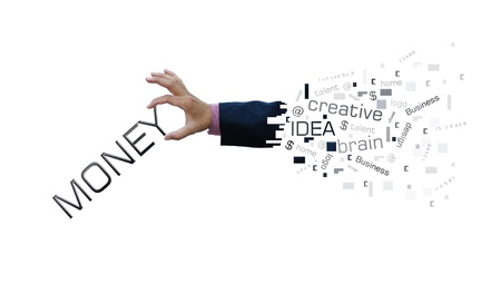 Creative artwork of business hand with business wording. photo