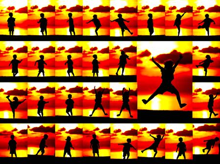 Set of silhouette of a boy  on orange sunset background. photo