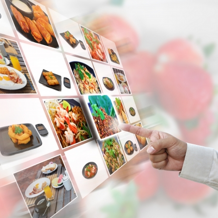 artwork of selection with food pictures.