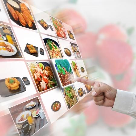 Obras de arte de la selección con las imágenes de los alimentos. Foto de archivo - 12236009