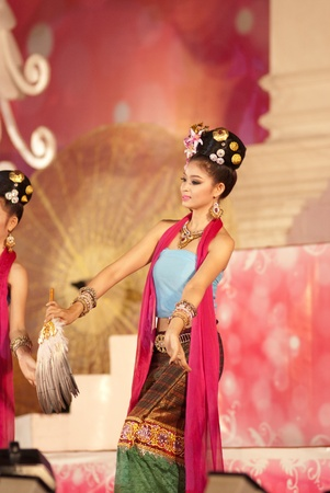 CHIANGMAI, THAILAND - JANUARY 3: Unidentified thai lanna style classical dance show during the
