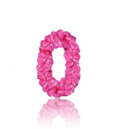 floral alphabet: Pink rose petals number on white background.