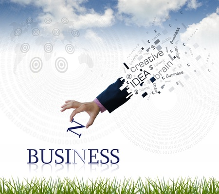 art work of business hand with the  business  word with nature background. photo