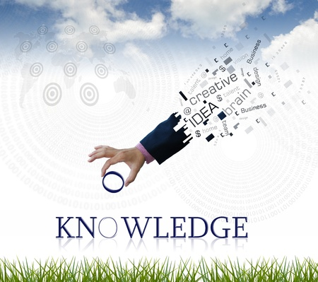 art work of business hand with the ' knowledge ' word with nature background. photo
