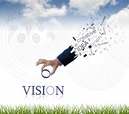art work of business hand with the  vision  word with nature background. photo
