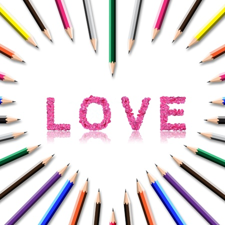 color pencil frame in heart shape on white background with love word inside. photo