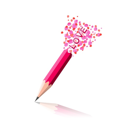 The love word love idea with pink pencil and rose petals design on white background. photo