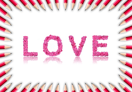 illutration of red color pencil frame on white background with love word inside. photo