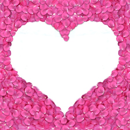 Heart shape frame from rose petals on white background. photo