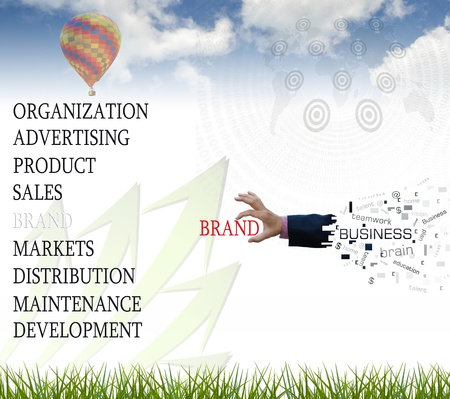 Art work of business hand with the business theory on nature background. photo