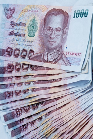 Close up stack of Thai one thousand type banknotes. Stock Photo - 12236543