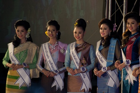 CHIANGMAI, THAILAND - JANUARY 3: Competitors during the Miss chiangmai contest 2012 at Chiangmai province on January 3, 2012 in Chiangmai, Thailand.
