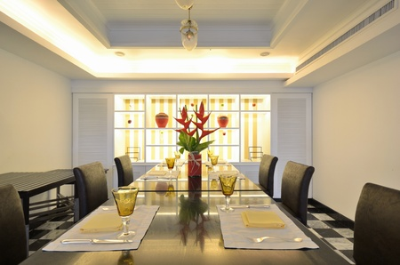 Luxurious dining table and chairs. Stock Photo