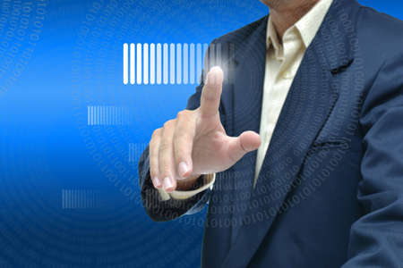 Selection idea by business people pointing object on dark blue gradient  background. Stock Photo - 12527588
