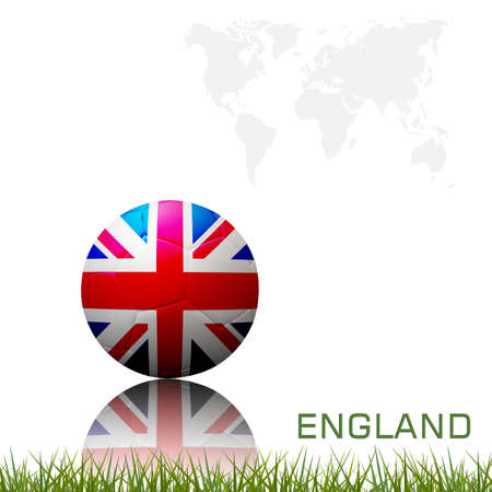 Flag of european football  competition on the soccer ball on white background. Stock Photo - 12520733