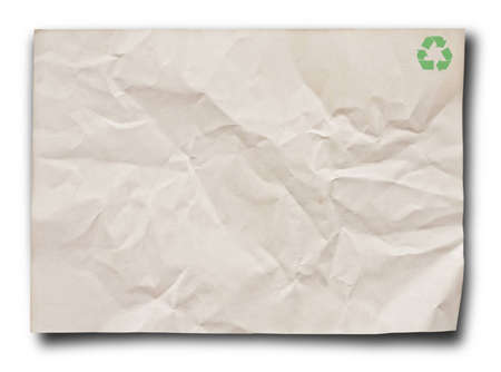 rundown: close up of recycle paper on white background. Stock Photo