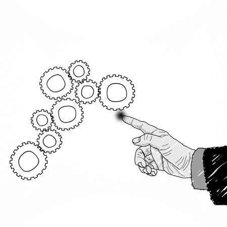 Business selection concept by sketch hand picture on white background. photo
