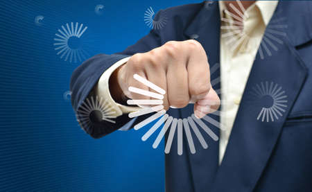 business selection concept by businessman fist picture on gradient blue background. photo