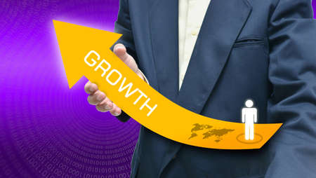 Business idea by business people with large arrow on purple background. photo