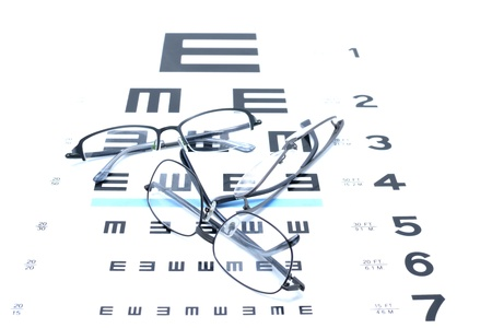 Vision idea by eye glasses frames on vision testing chart background.