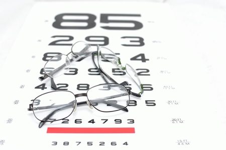 Vision idea by eye glasses frames on vision testing chart background. Stock Photo - 12606745