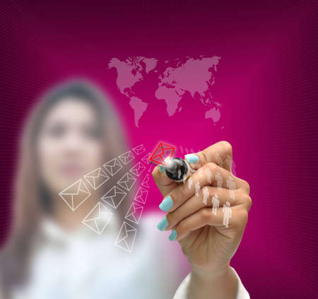 business selection concept by business woman writing business object on gradient purple background. Stock Photo - 12606699