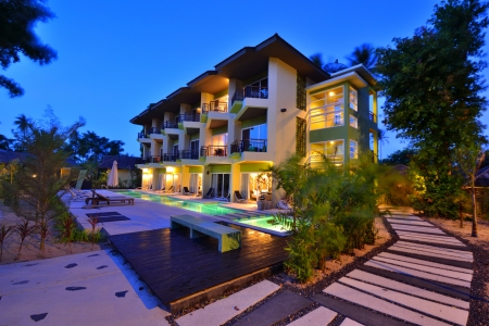 Resort at twilight Stock Photo