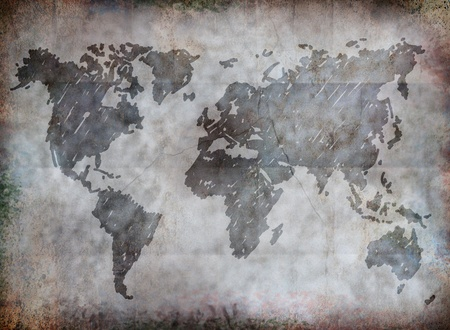 Grunge world map paper close up view for general background.