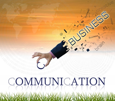 communication concept: art work of business hand withwordind on sunset sky background. Stock Photo