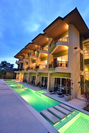 Modern style building with swimming pool.