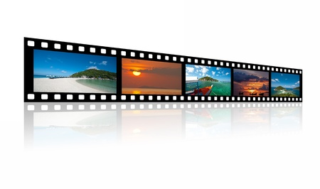 Landscape pictures on  old fasion films over white background.