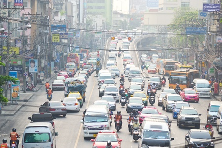 BANGKOK, THAILAND - MARCH 28: Traffic jam at the Victory monument in central Bangkok on March 28, 2012 in Bangkok.
