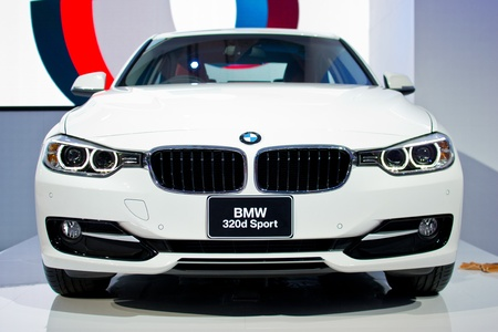 NONTHABURI, THAILAND - MARCH 28: TheBMW 320d Sport white model  in the 33rd Bangkok International Motor Show on March 28, 2012 in Nonthaburi, Thailand.