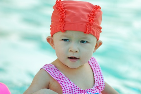 Cute young girl in swimming suit in the pool. photo