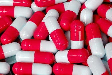 pattern of antibiotic capsule close up view photo