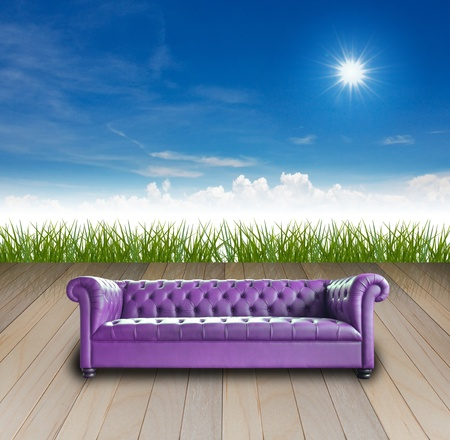 single vintage style sofa on nature background. photo