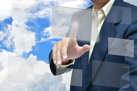 Business man selection ldea on sky background. Stock Photo - 13197179