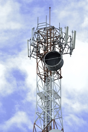Mobile phone communication repeater antenna tower in blue sky Stock Photo - 13197163