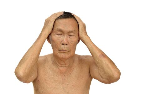 An old asian man with health problem action on white background. Stock Photo - 13259543