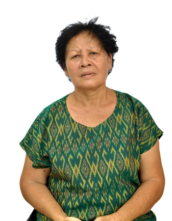 Portrait of and old asian woman on white background.