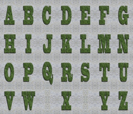 Illustrated grass background font on seamless concrete wall background. photo