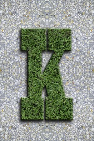 Illustrated grass background font on seamless concrete wall background. Stock Photo - 13254623