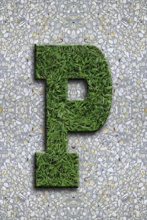 Illustrated grass background font on seamless concrete wall background. Stock Photo - 13254633